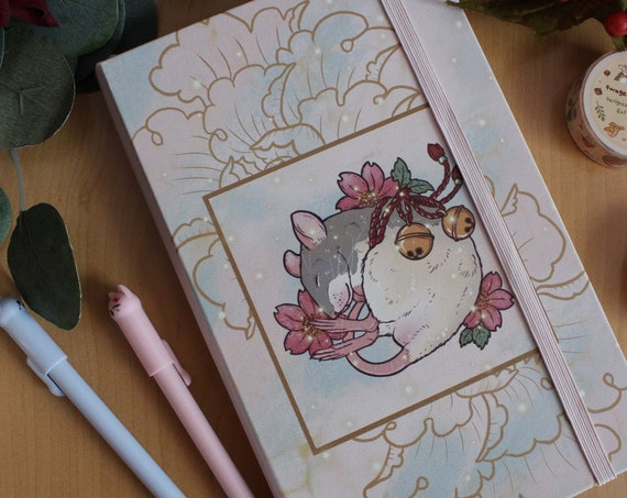 A5 Notebook Dotted Pages Rat and Cherry Blossoms Faux Leather Covers