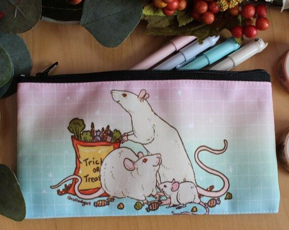 Zipper Pouch Halloween Rainbow Albino Rats Trick or Treat Canvas Fabric Pencil Case