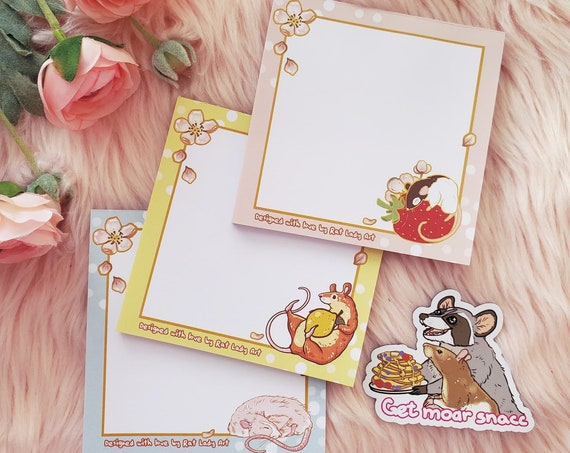 4x4 Inch Memo Pads SET Rat and Raccoon Stationery Grocery List