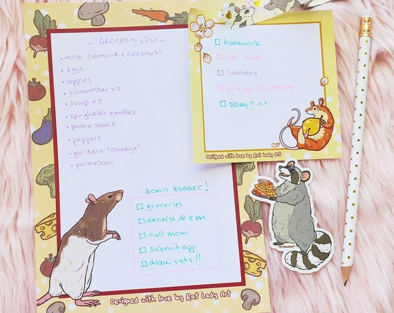 A5 Memo Pads SET Rat and Raccoon Stationery Grocery List