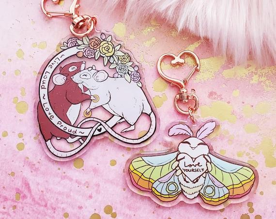 Pride Rat and Pride Moth Acrylic Keychain Glitter Epoxy