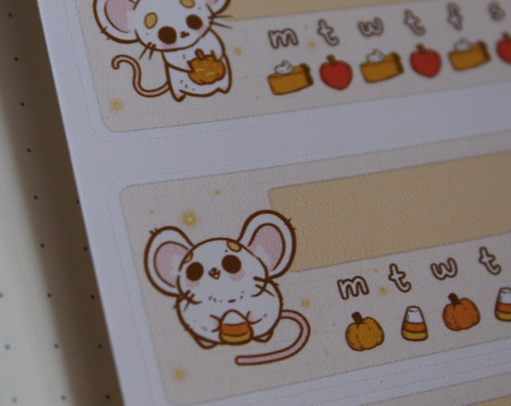Medication Reminder Pumpkins and Mice - Planner Stickers | Stationery, Scrapbooking, Bullet Journal | Rat Lady Art