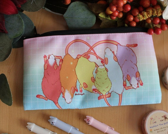 Zipper Pouch Rainbow Baby Rats Canvas Fabric Pencil Case