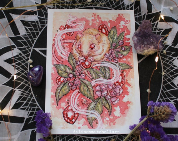 July Birthstone Ruby Regret Fine Art Print Gemstone Rat