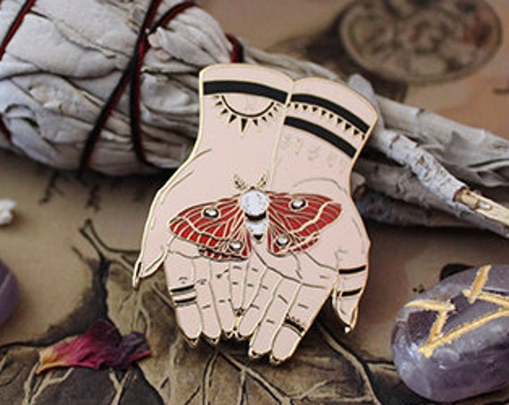 Moth and Hands Witchy Hard Enamel Pin