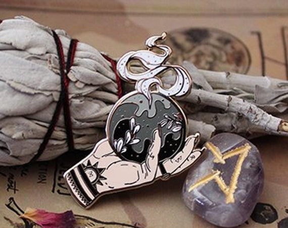 ON SALE Crystal Ball and Hands Witchy Hard Enamel Pin