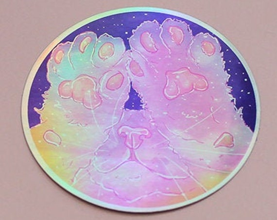Rainbow Galaxy Die-Cut Holographic Cat Paw Bean Toes Stickers