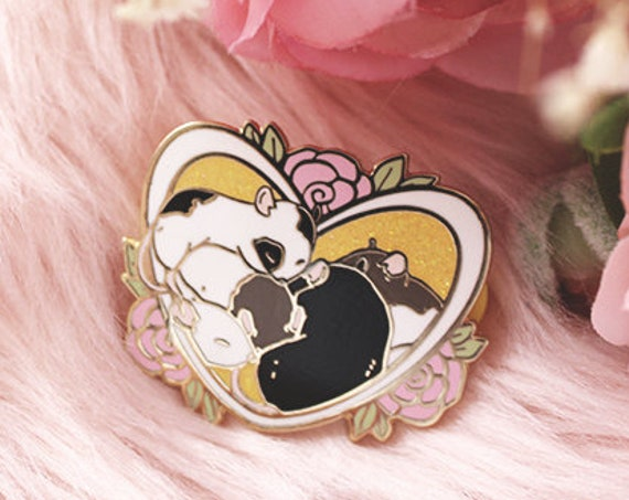 Heart Roses Rat Valentine's Day Hard Enamel Gold Pins