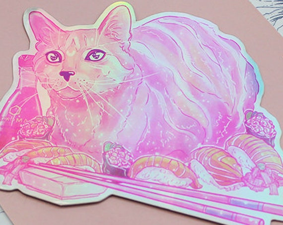 Kiki's Sushi Rainbow Galaxy Cat Sticker Holographic Die-cut Vinyl