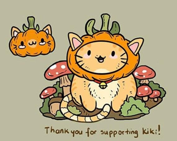 PREORDER PumpKiki Pumpkin and Mushroom Cat Hard Enamel Pins and Stickers