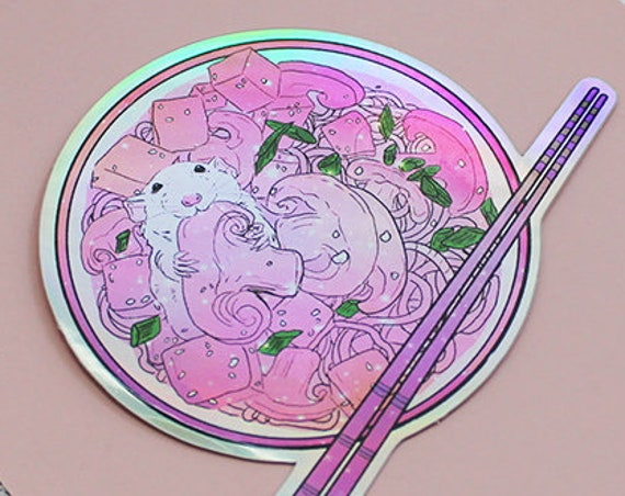 Ramen Rat Holographic Foil Sticker Diec-Cut Vinyl