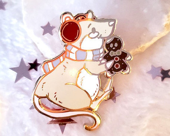 Gingerbread Cookie Rat Hard Enamel Pin Christmas Pin Gift