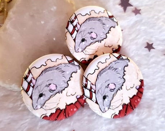 ON SALE Cute Holiday Rat Button
