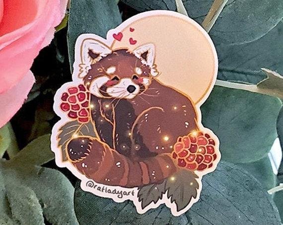 Red Panda and Berries Die-cut Matte Stickers