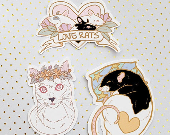 Kawaii Rat Mouse and Floral Cats Die-cut Matte Stickers