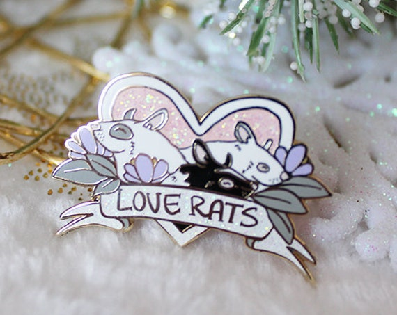 Rattie Love Pile Hard Enamel Pins Rats and Hearts Pins