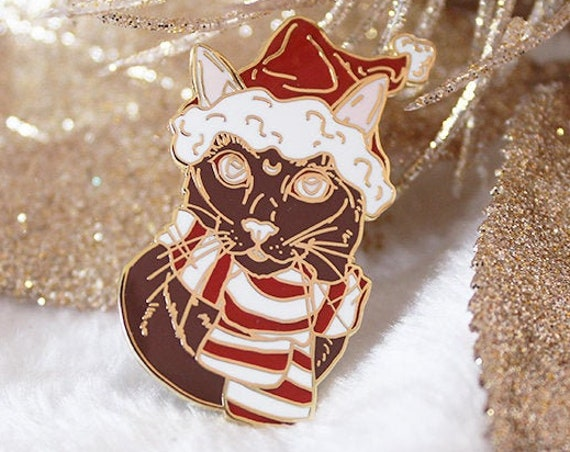 ON SALE Gingerbread Santa Hat Cat with Scarf Hard Enamel Pin Christmas Pin Gift