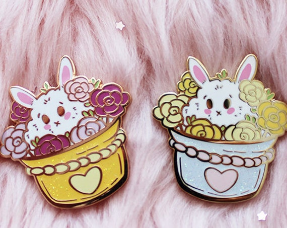 Bunny Flower Pot Rose Gold Enamel Pin