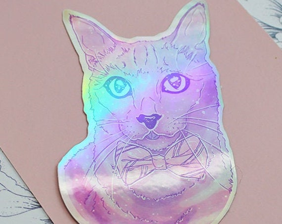 Rainbow Galaxy Die-Cut Holographic Bowtie Cat Stickers