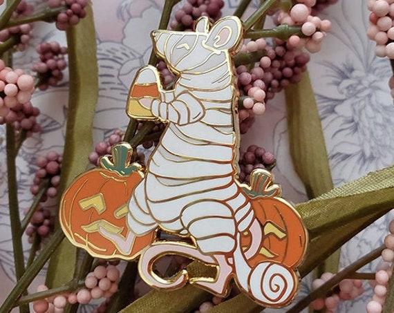 ON SALE Mummy Spooky Rattoween Enamel Pins Halloween Art