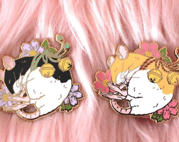 JULY 2021 Cherry Blossom Mouse Tattoo Pin Hard Enamel Pin Gold Metal and Die-cut Sticker