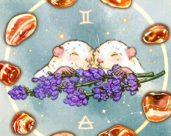 PREORDER Gemini Constellation Zodiac Art Print Baby Rats and Red Tumbled Agate Lavender Flowers