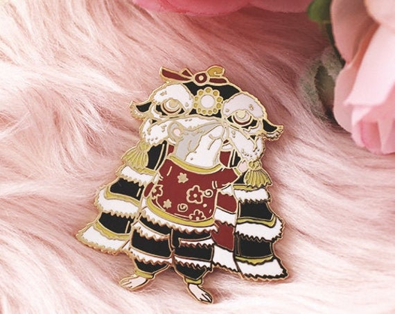 Lion Dance Rat Year of the Rat Hard Enamel Gold Pins