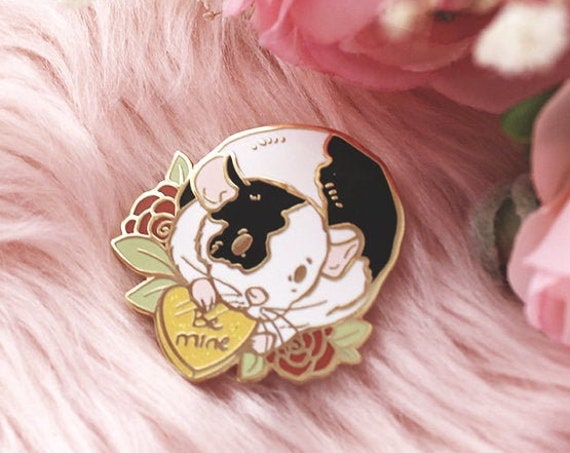 Be Mine Rat Valentine's Day Hard Enamel Gold Pins