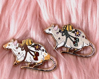SEPTEMBER 2021 Cherry Blossom Mouse Tattoo Pin Hard Enamel Pin Gold Metal and Die-cut Sticker