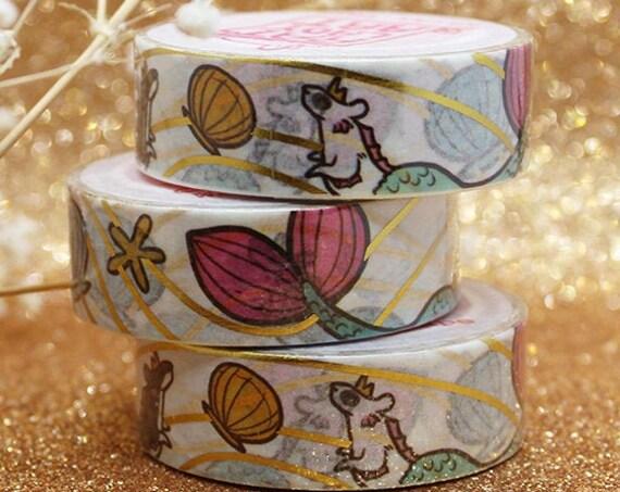 ON SALE Rats Gold Foil Washi Tape Mermaid Seashell