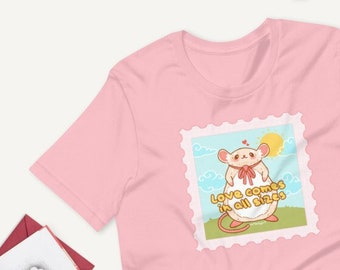 Love Comes in All Sizes Rat and Mouse Kawaii Pink Pastel UNISEX Unique Printed Tshirt