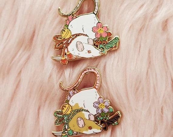 MAY 2021 Cherry Blossom Mouse and Katana Pin Hard Enamel Pin Gold Metal