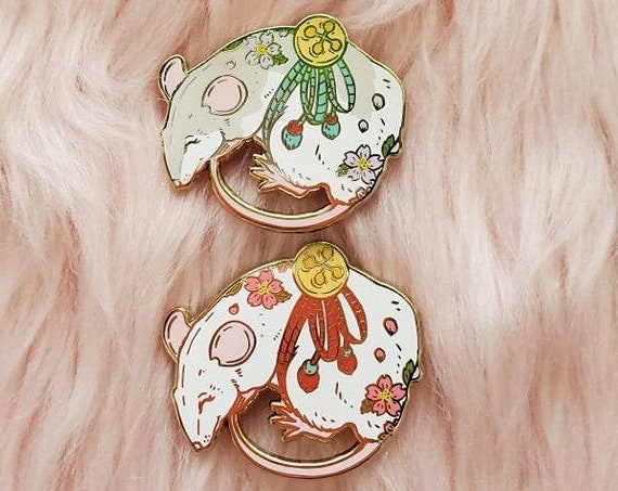 JUNE 2021 Cherry Blossom Mouse Tattoo Pin Hard Enamel Pin Gold Metal and Die-cut Sticker