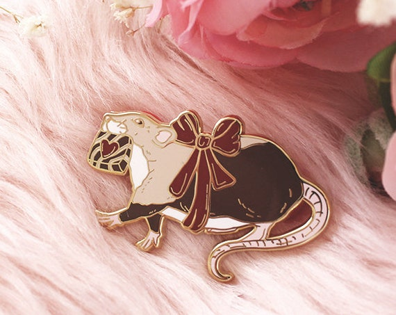 Chocolate Thief Rat Pin Valentine's Day Hard Enamel Gold Pins