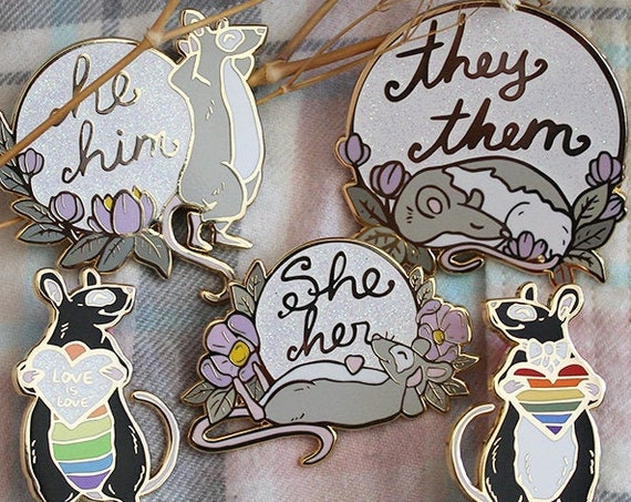 Pride Rats Gay and Pronoun Hard Enamel Pins He/Him She/Her They/Them