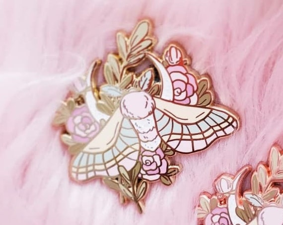 Moon Flowers Moth Hard Enamel Pin Rose Gold Pastel Glitter