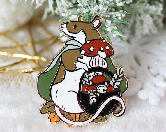 Forager Rat Herbs and Mushroom Rat Hard Enamel Pins