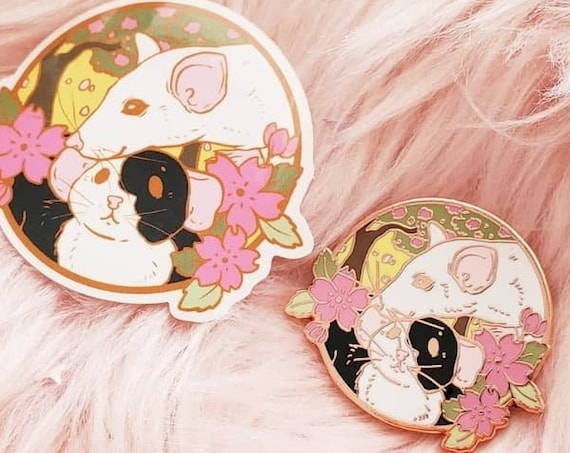 JANUARY 2021 Cherry Blossom Rat Mom and Rat Baby Hard Enamel Pin Gold Metal and Die-cut Sticker