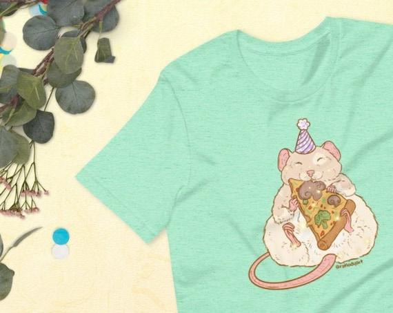 Birthday Pizza Rat Kawaii Pink Pastel UNISEX Unique Printed Tshirt