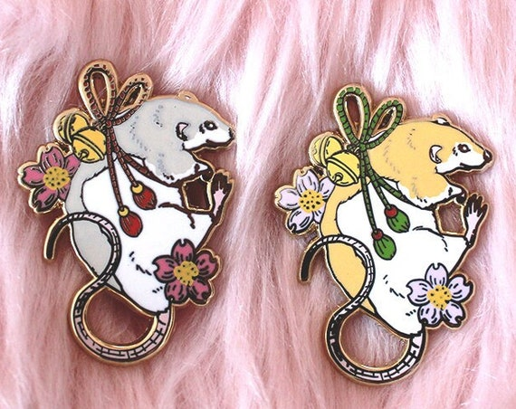 AUGUST 2021 Cherry Blossom Mouse Tattoo Pin Hard Enamel Pin Gold Metal and Die-cut Sticker