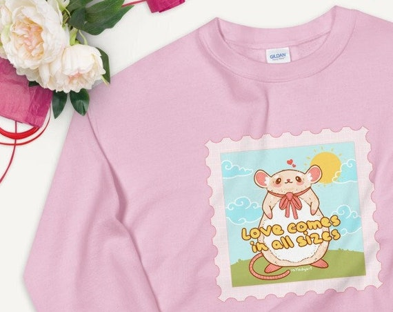 Love Comes in All Sizes Rat and Mouse Pink Kawaii UNISEX Unique Printed Sweatshirt
