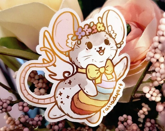 Rainbow Fairy Mouse Die-cut Matte Stickers