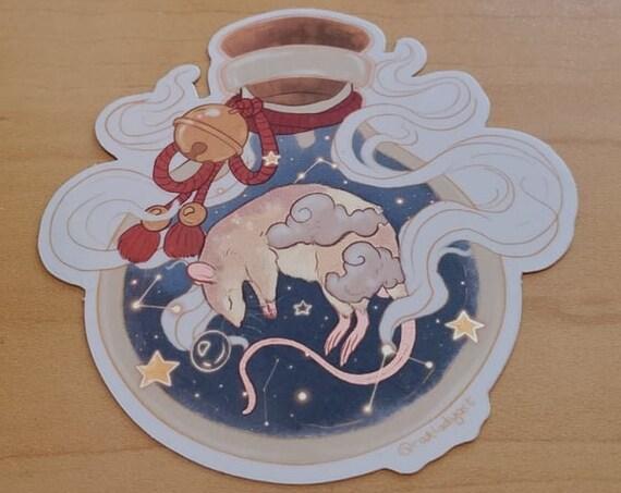Dreaming Rat in Potion Bottle Mirror Effect Glossy Weatherproof Die-Cut VinylStickers