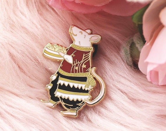 Dumplings Rat Year of the Rat Hard Enamel Gold Pins