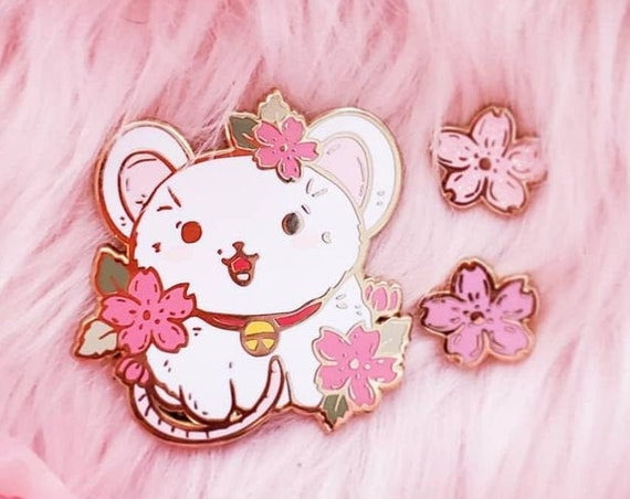 APRIL 2021 Cherry Blossom Mouse + Tiny Filler Pin Hard Enamel Pin Gold Metal and Die-cut Sticker