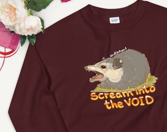 Scream into the VOID Anxiety Opossum Screaming and Crying UNISEX Unique Printed Sweatshirt