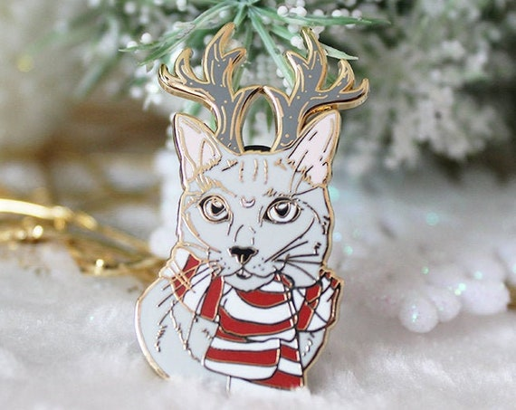 ON SALE Reindeer Cat Hard Enamel Pin Christmas Pin Gift