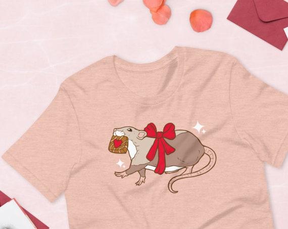 Valentine's Day Chocolate Thief Rat Kawaii Pink PAstel UNISEX Unique Printed Tshirt
