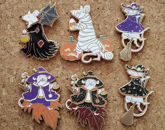 ON SALE Spooky Rattoween Enamel Pins Halloween Art