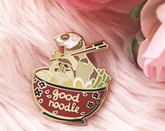 Ferret in a Ramen Bowl Ferret Noodle Hard Enamel Pin Gold Metal